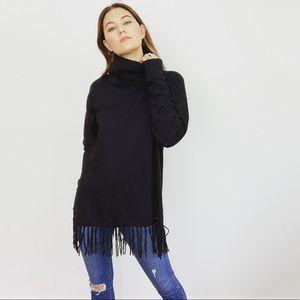 Michael Kors Black Turtleneck Fringe Sweater